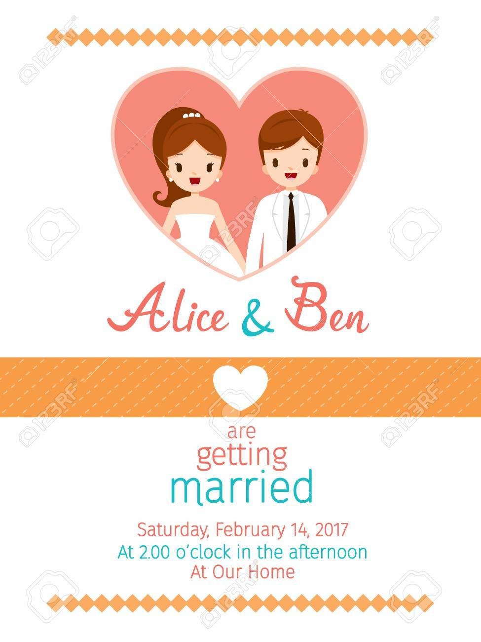 Wedding Invitation Card Template Bride And Groom Love
