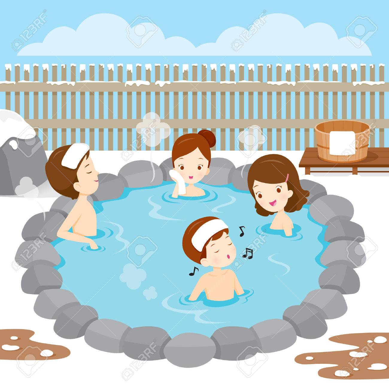 Family Relaxing In Hot Spring, Bath, Onsen, Japanese, Culture ...