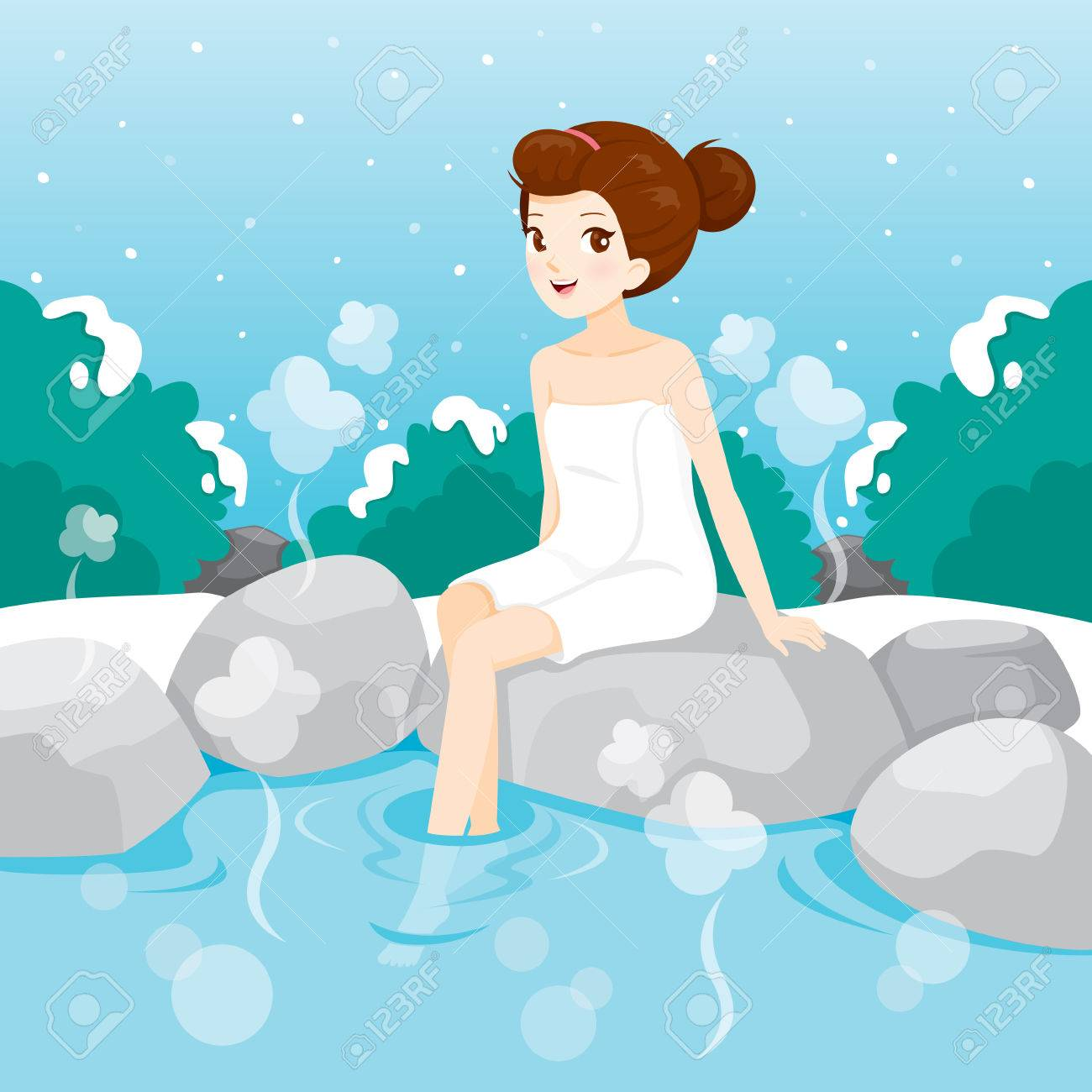 Woman Relaxing In Hot Spring, Bath, Onsen, Japanese, Culture ...