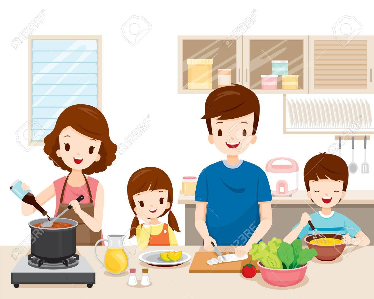 Gluckliche Familie Kochen Essen In Der Kuche Zusammen