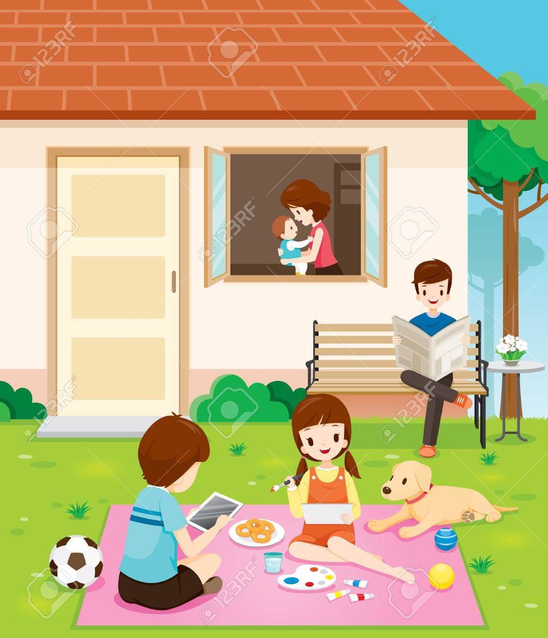 Happy Family Relaxing With Activities At Their Home House Building