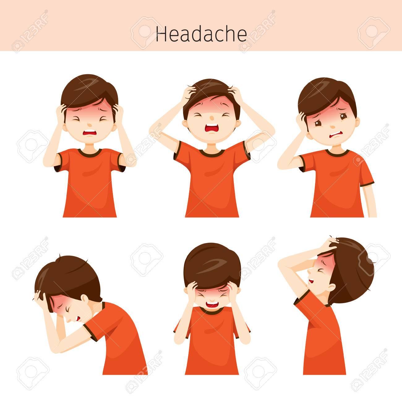 Junge Mit Verschiedenen Kopfschmerzen Aktionen, Kopf, Gehirn ...
