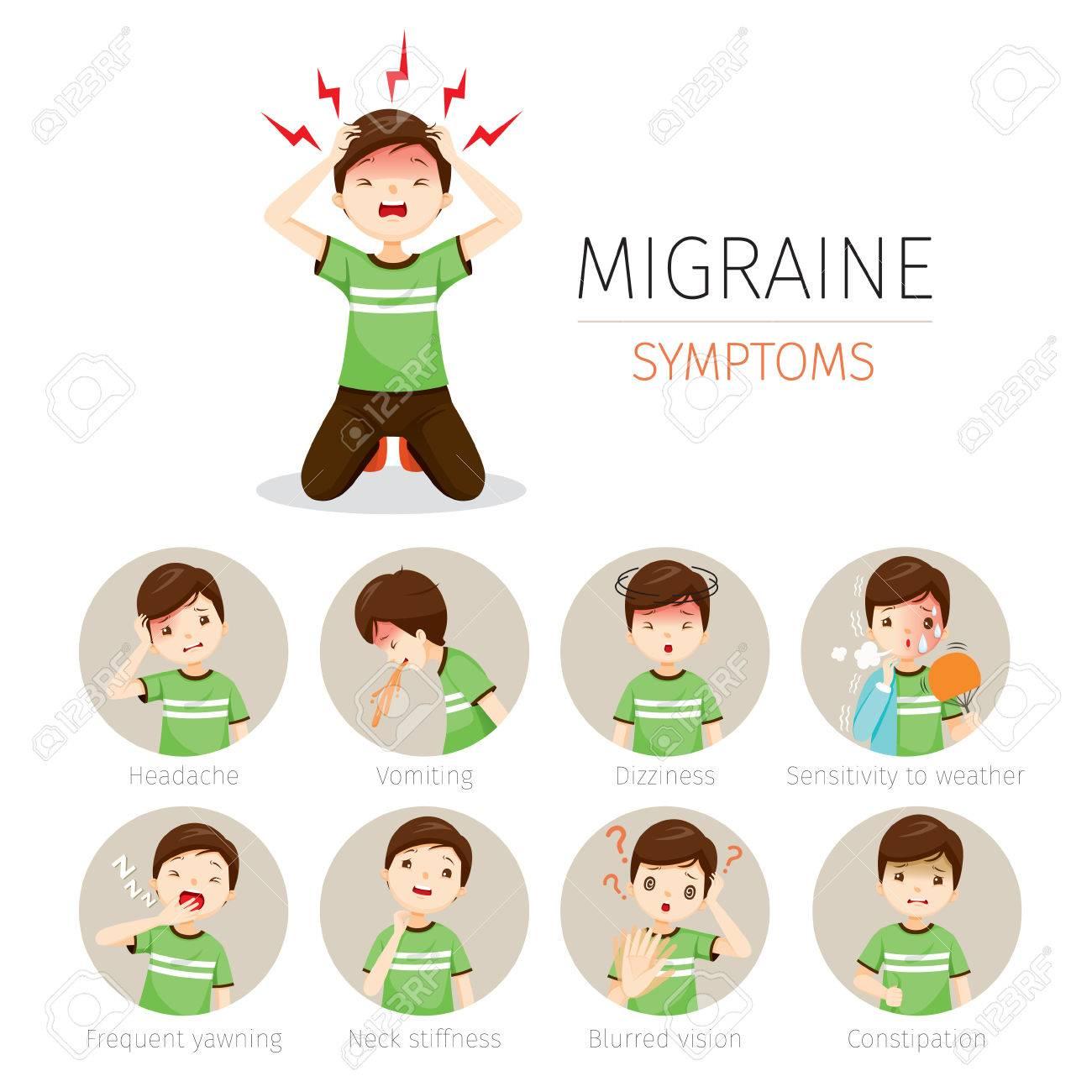 Junger Mann Mit Migräne Symptome Icons Set, Kopf, Gehirn, Interne ...