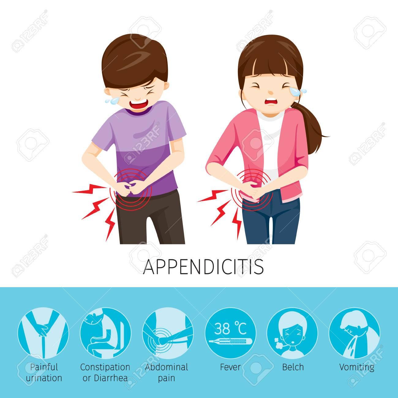 Niño Y Niña Dolor De Estómago Debido A La Apendicitis, Apéndice ...