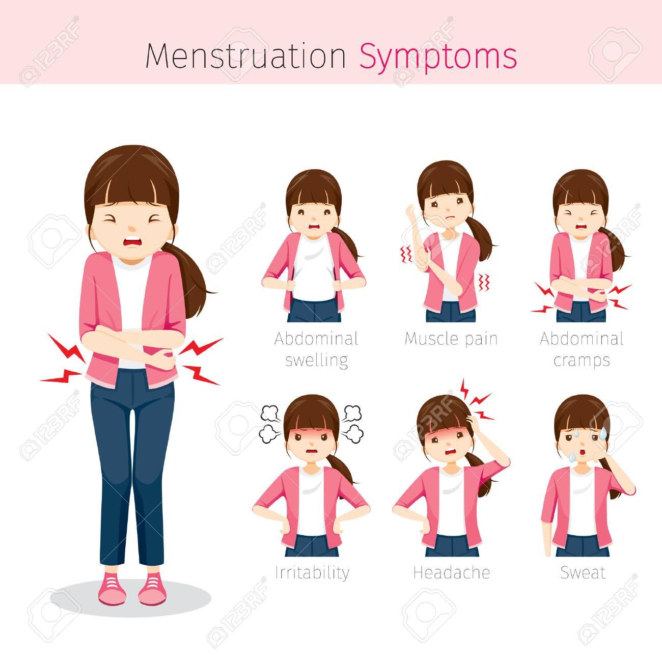 Chica Con Síntomas De Menstruación, Mujer, órganos Internos, Cuerpo ...