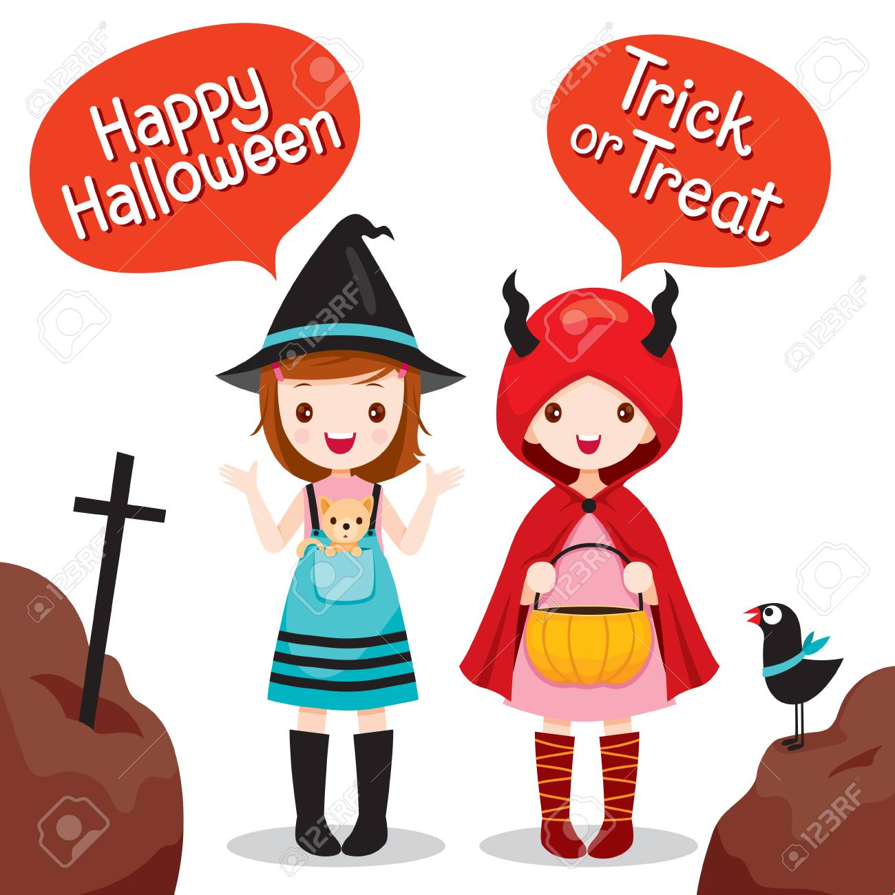 ... Night Party Happy Halloween Trick Or Treat. Two Girls Wearing Halloween  Costume, Mystery, Holiday, Culture, Halloween, Decoration,