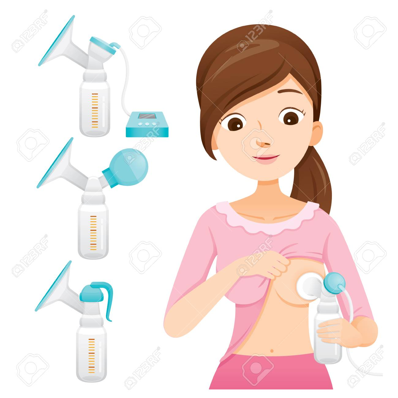 Mother Pumping Her Breast With Automatic Breast Pump. Breast Pump Set, Mother's day, Suckling, Infant, Motherhood, Innocence - 102167611
