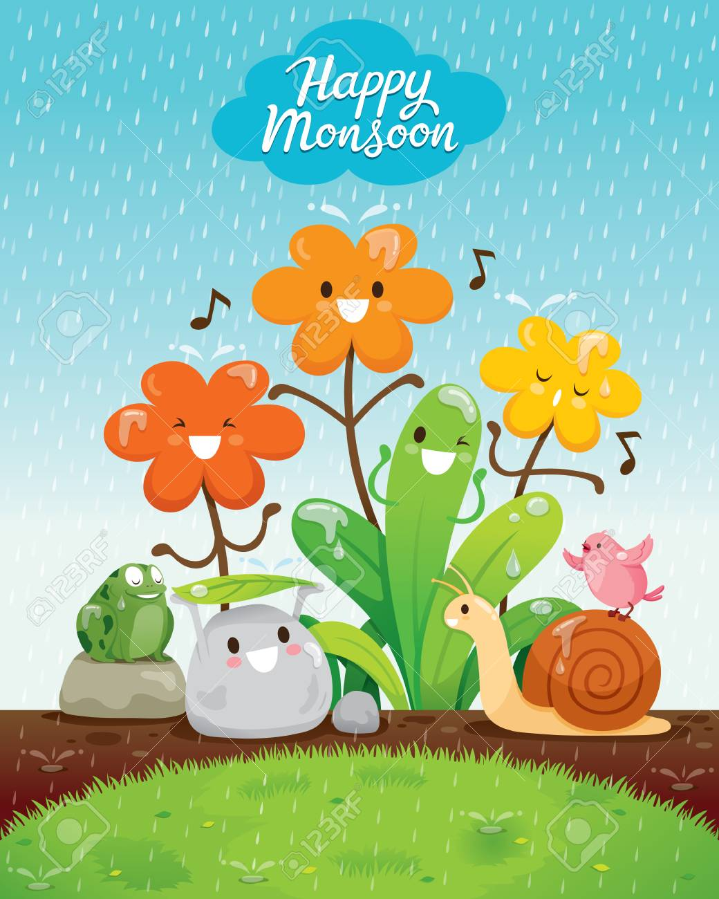 Cartoon Character Of Flowers And Animals Happiness In The Rain