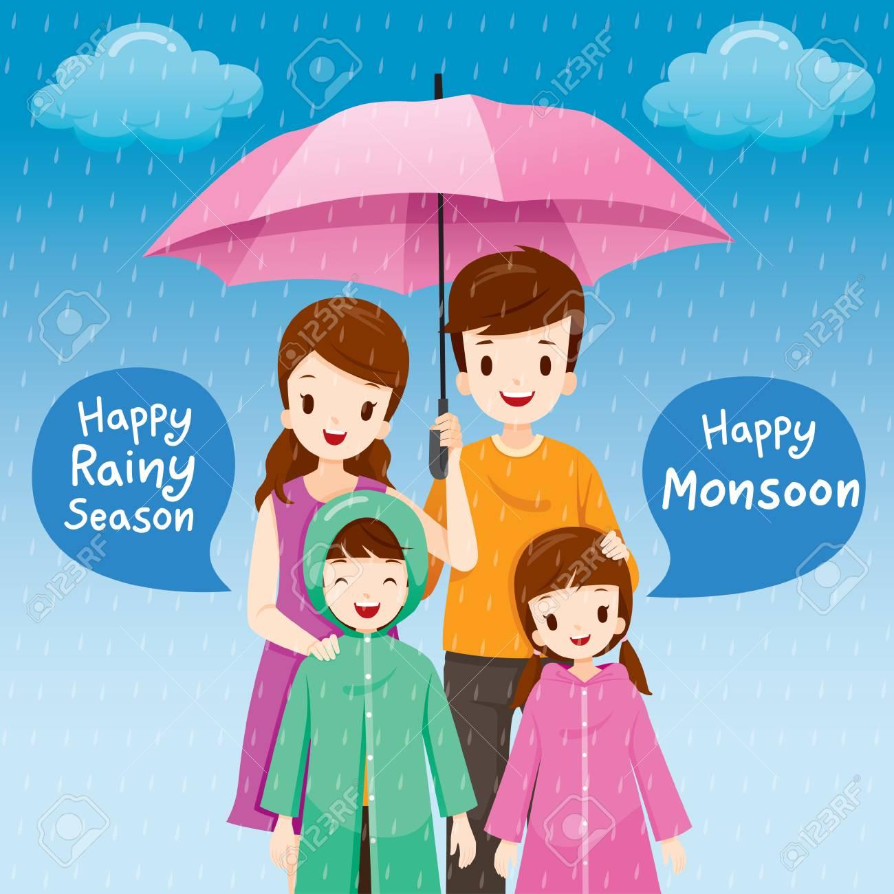 Parent And Children Under Umbrella Together In The Rain Children