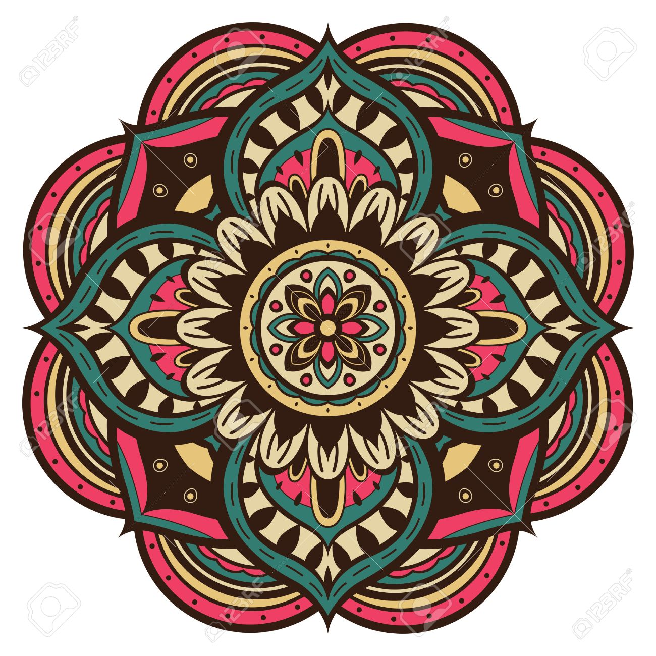 Color Vector Mandala In Retro Style On A White Background Ethnic