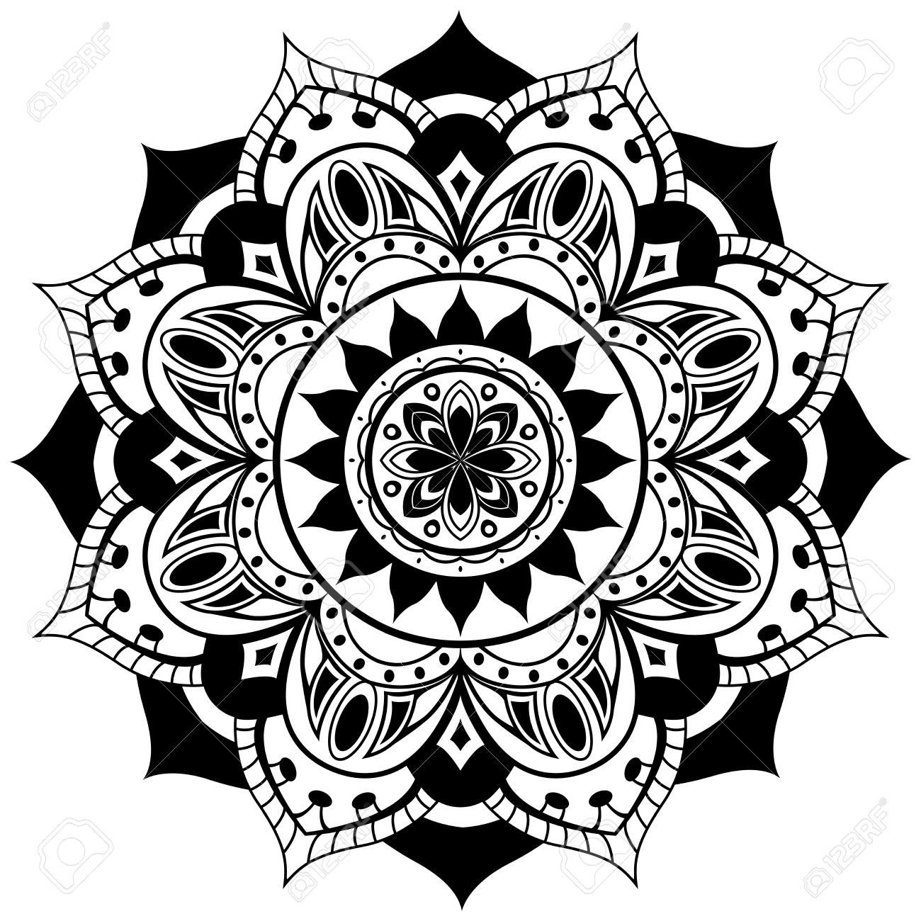 Vector Mandala On A White Background. Traditional Round Ornament ...