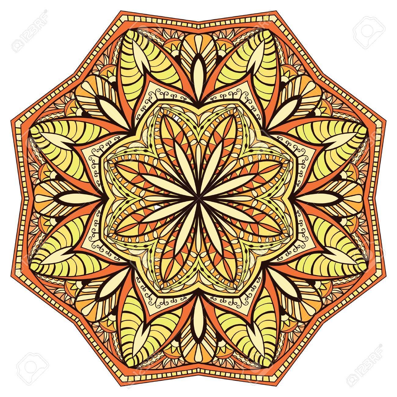 装飾、花、対称的なマンダラ。円...