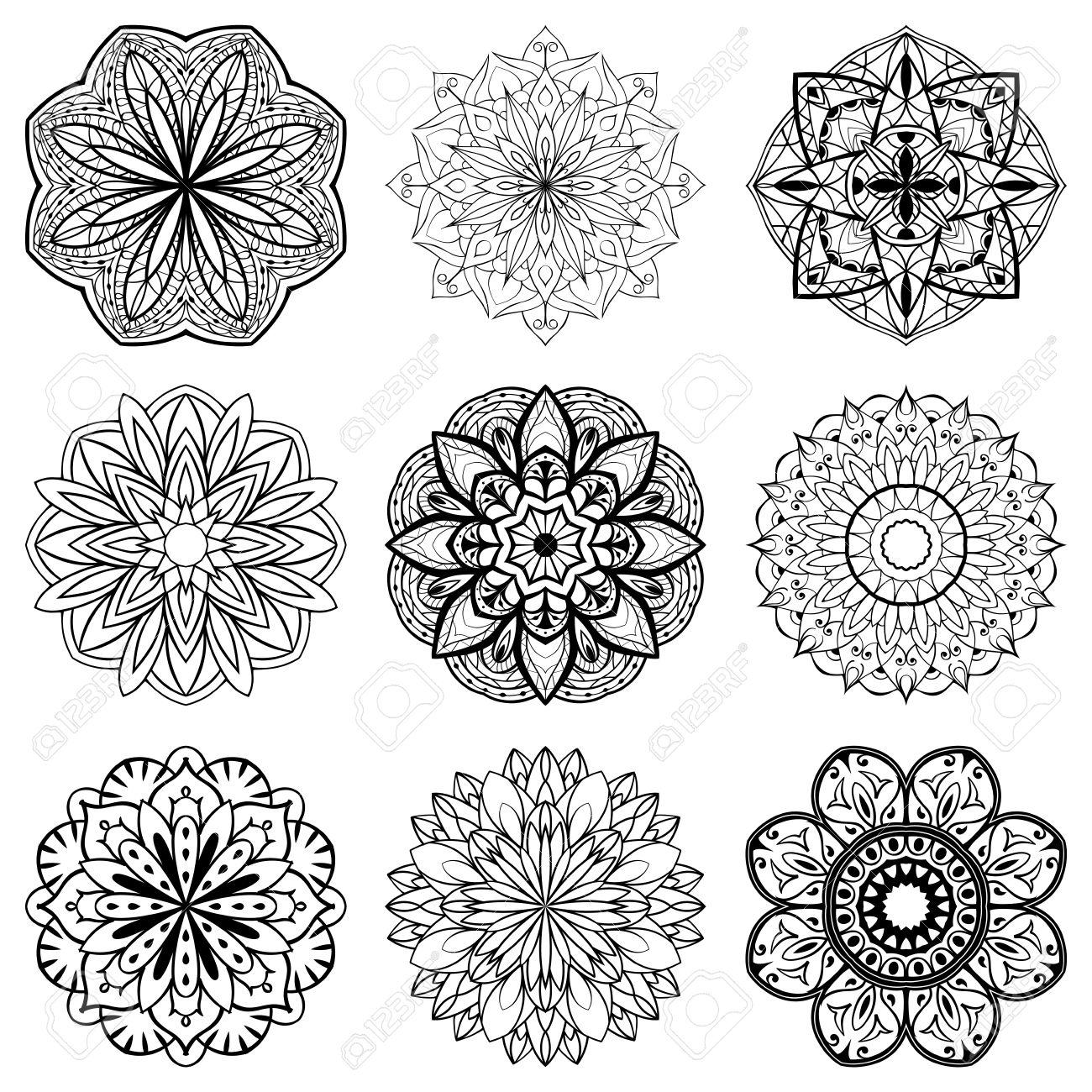 Ensemble De Mandalas. Collection D\'étoiles Stylisés, Des Flocons De ...