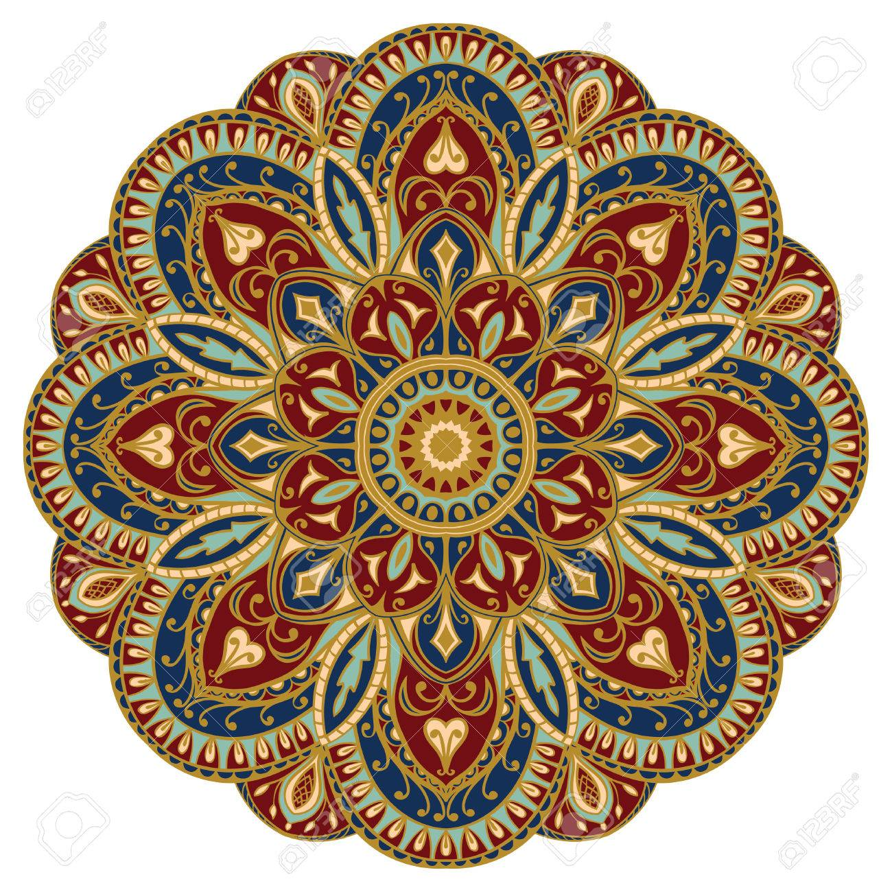 Verziert Ostlichen Mandala Mit Goldenen Kontur Vector Runde