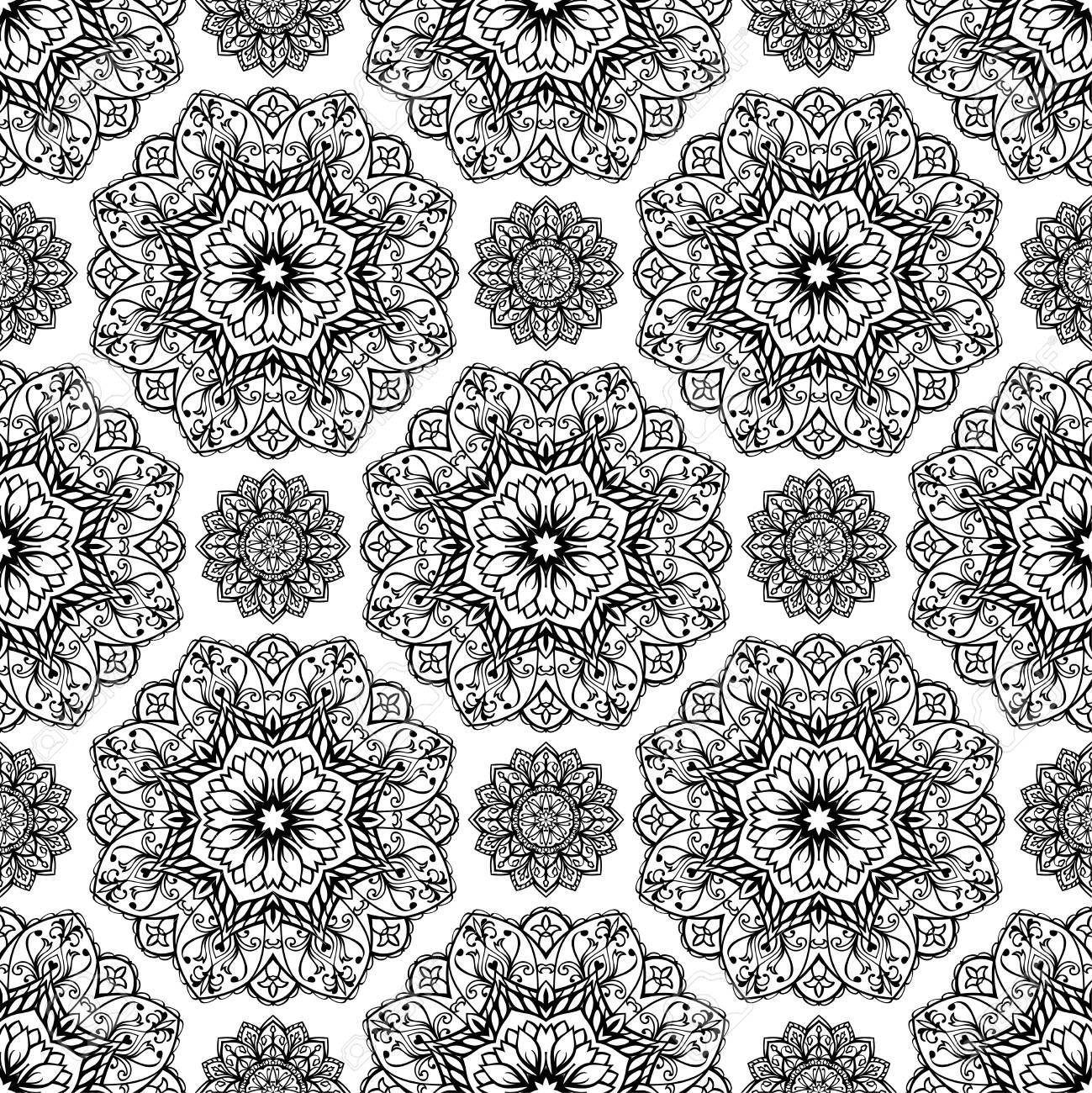 nahtlose, orientalisch, grafischen muster von mandalas auf einem