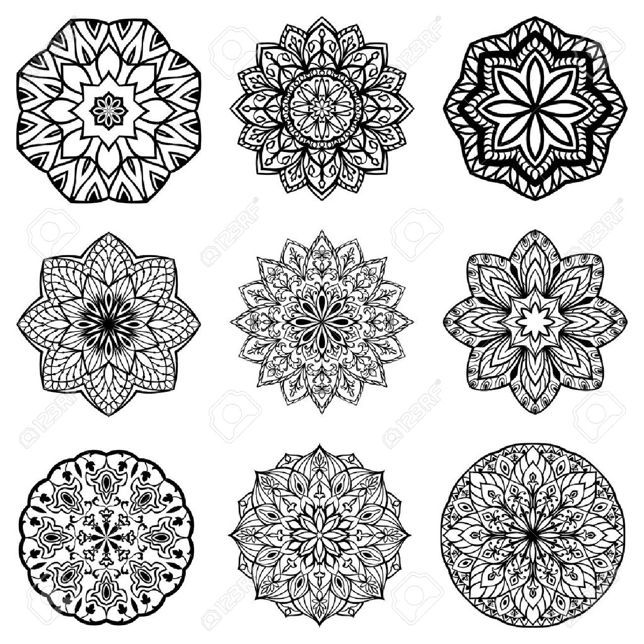 set of mandalas collection of stylized stars and snowflakes