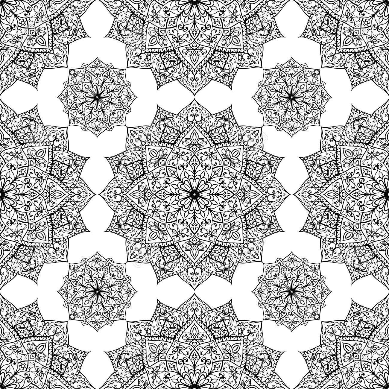 nahtlose, östlich, graphische muster von mandalas auf einem weißen