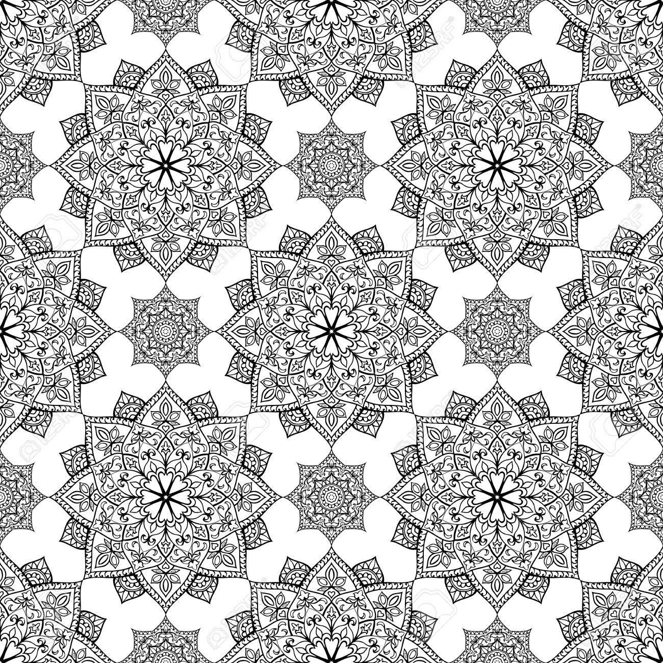 nahtlose, östliche, grafische muster von mandalas auf weißem