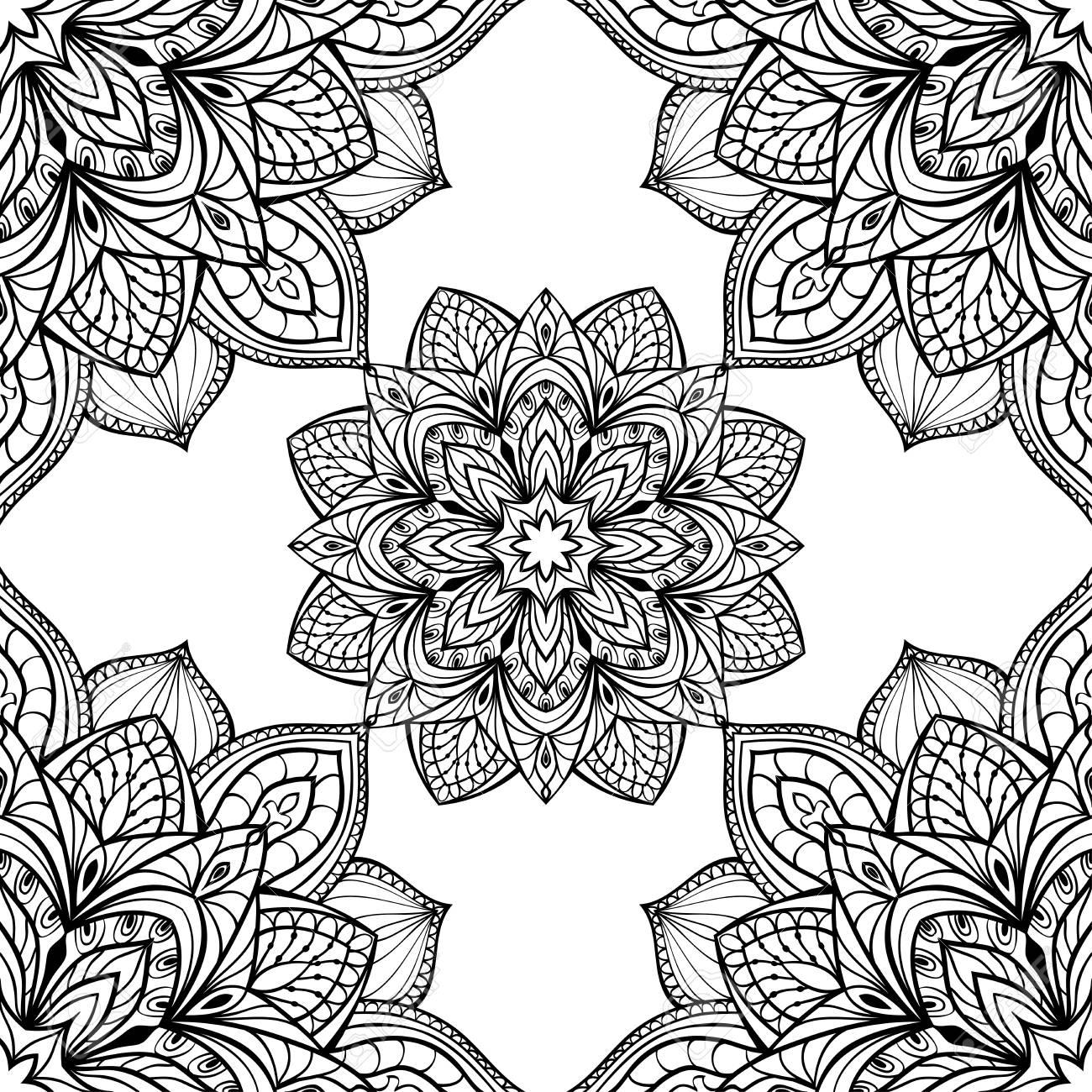nahtlos, osten, grafische muster von mandalas auf einem weißen
