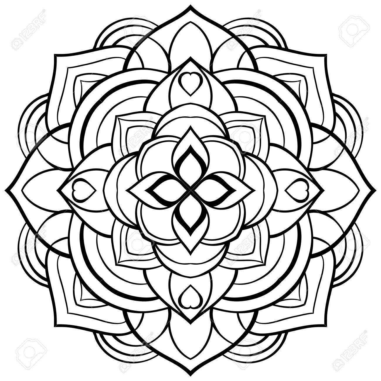 Vector Mandala Para Colorear. Patrón Circular Simple De Líneas
