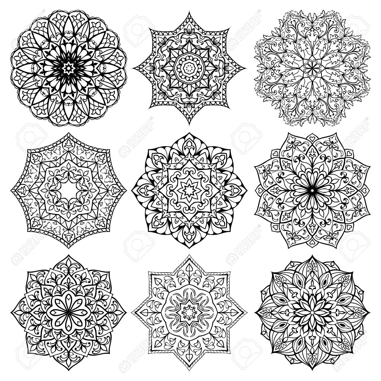Conjunto De Mandalas. Colección De Estrellas Estilizadas Y Copos De ...
