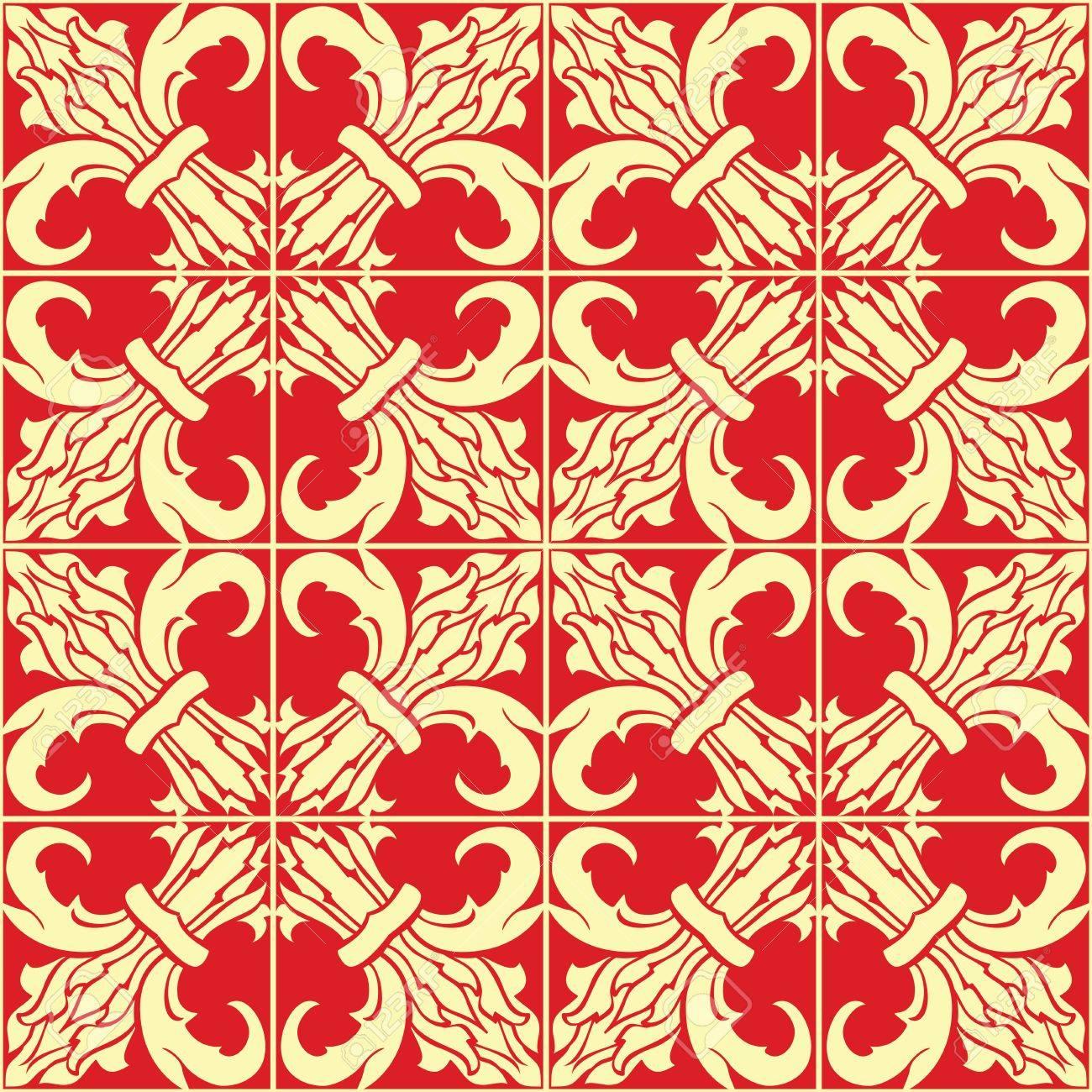 Klassische Beige Und Rot Nahtlose Muster Einfache Vektor Ornament