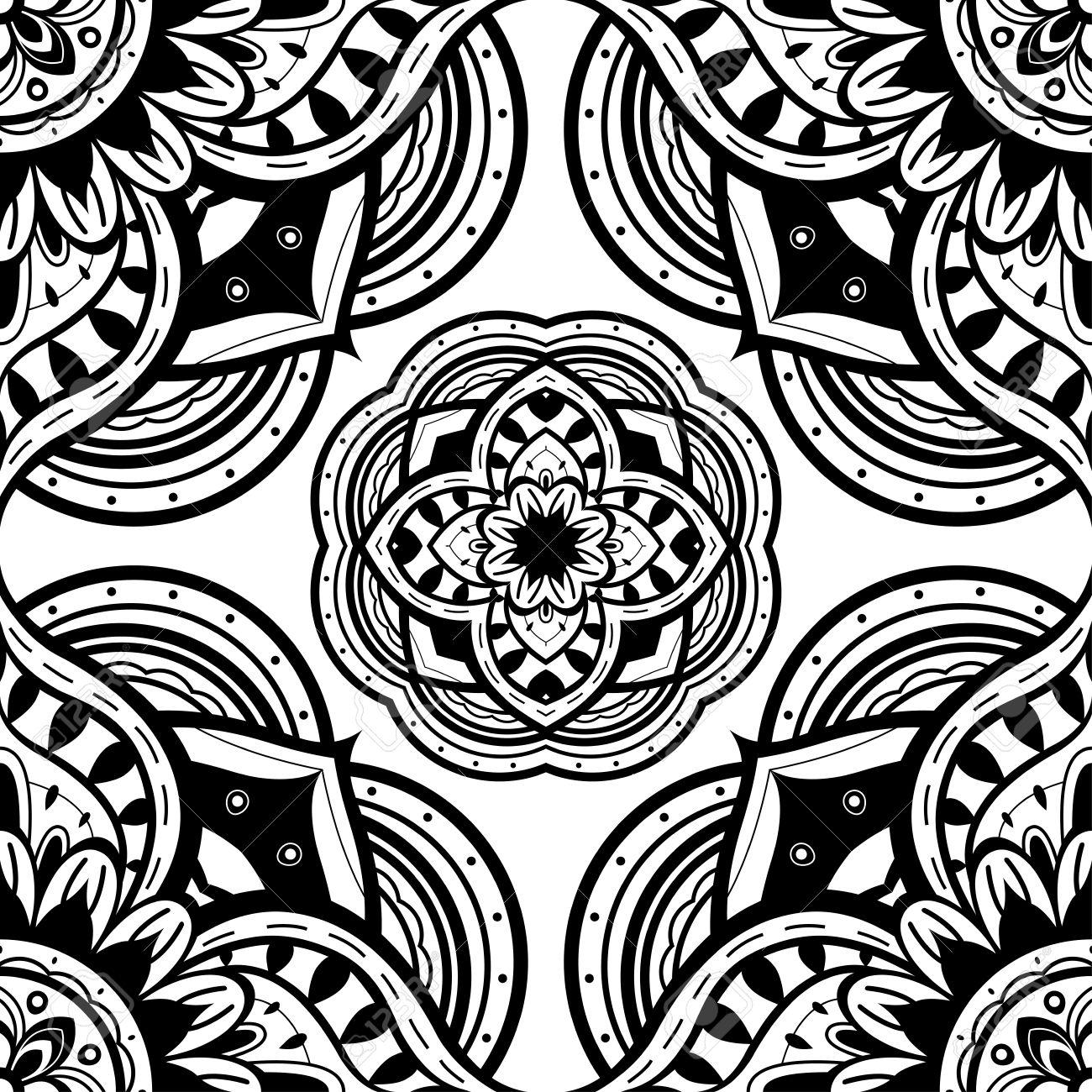 Seamless Ornate Pattern Of The Mandalas On A White Background ...