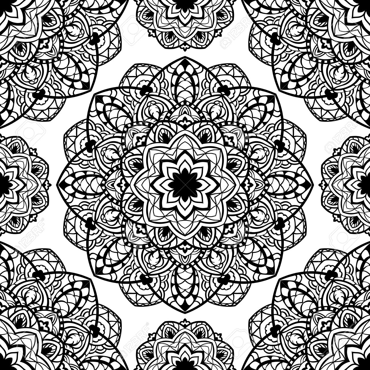 Vector Seamless Ornament Of Abstract Mandalas. Sketch Of Embroidery ...