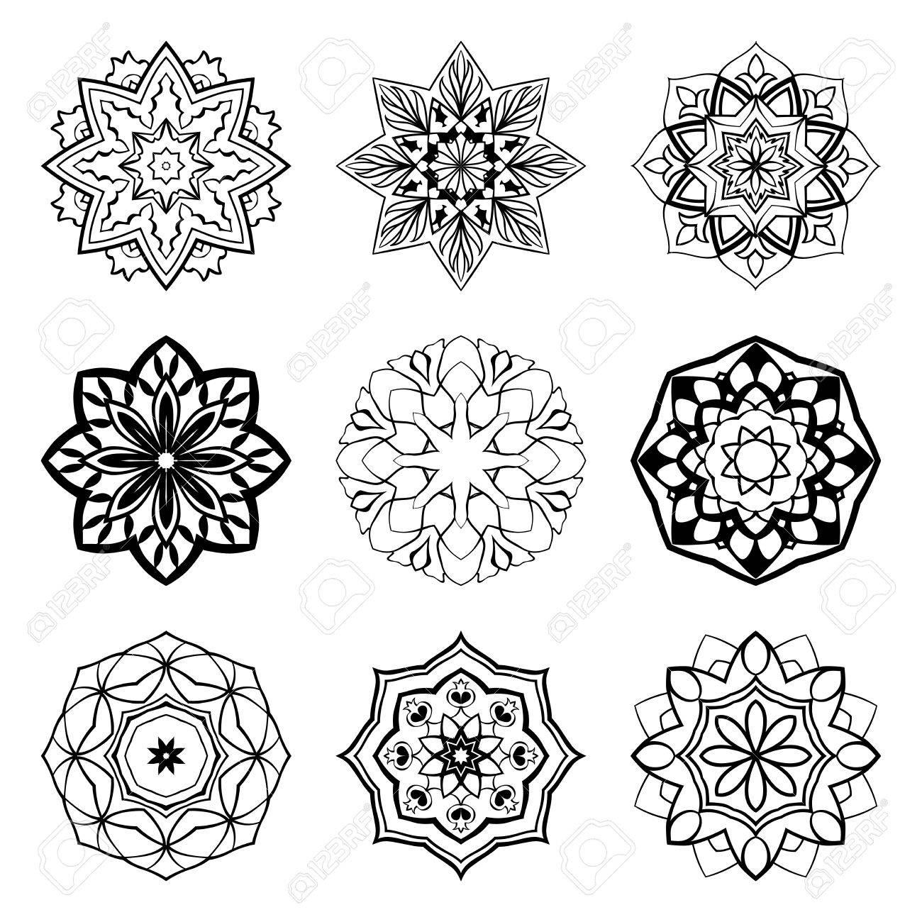 Conjunto De Mandalas Coleccion De Estrellas Estilizadas Y Los Copos