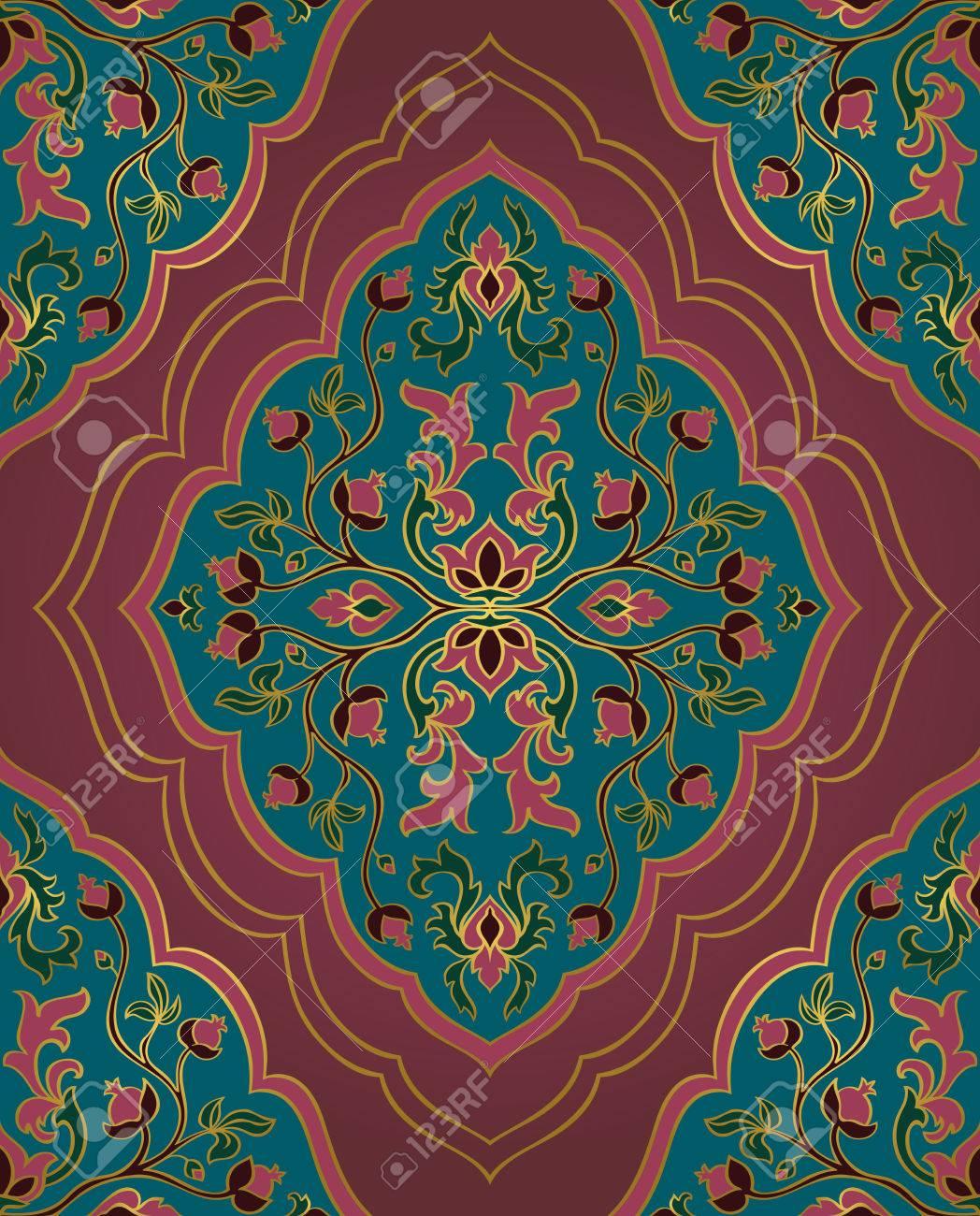 Adornos Florales De Colores Plantilla Para Alfombras Orientales - Alfombras-colores
