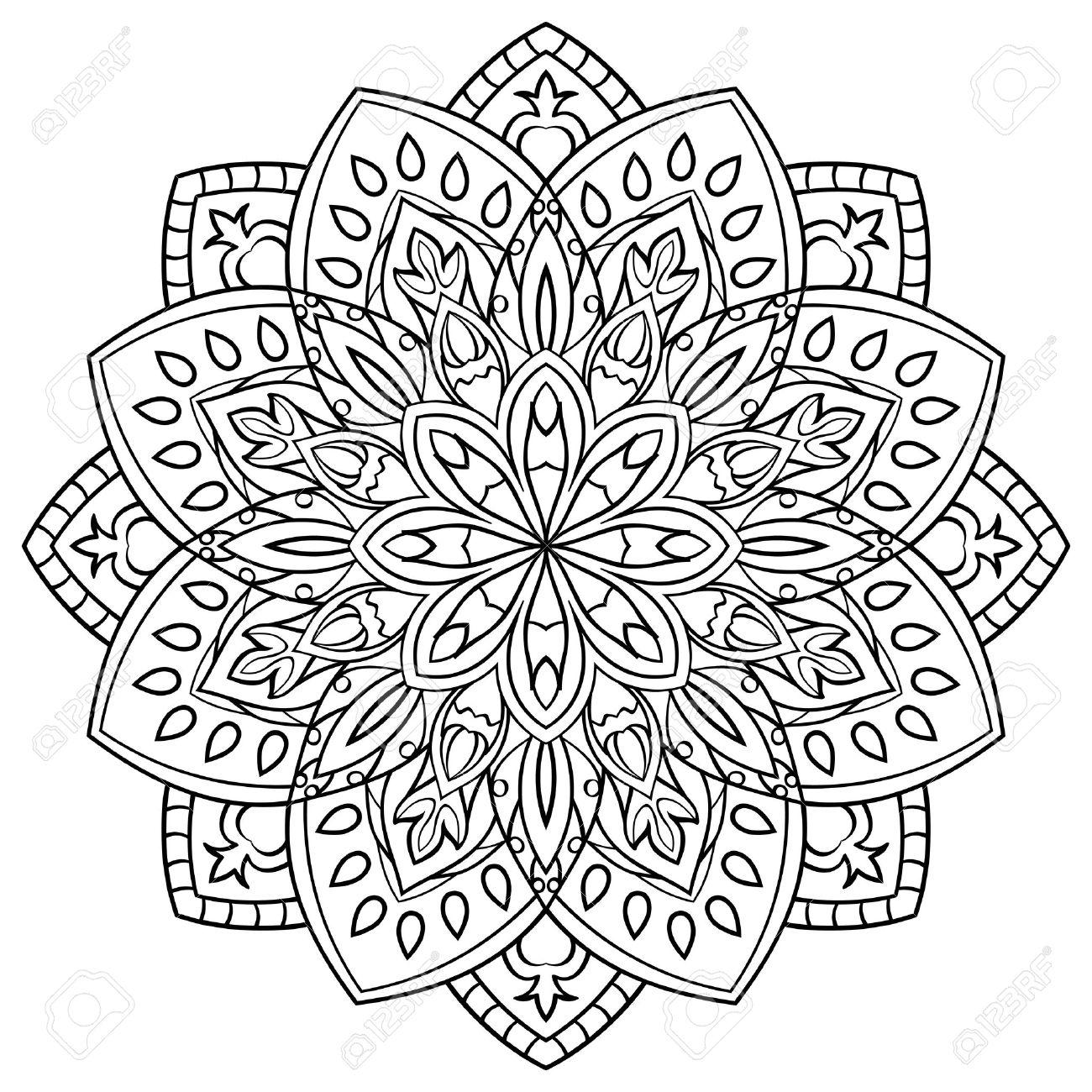 Mandala Simple Contorno Sobre Un Fondo Blanco Oriental Ornamento