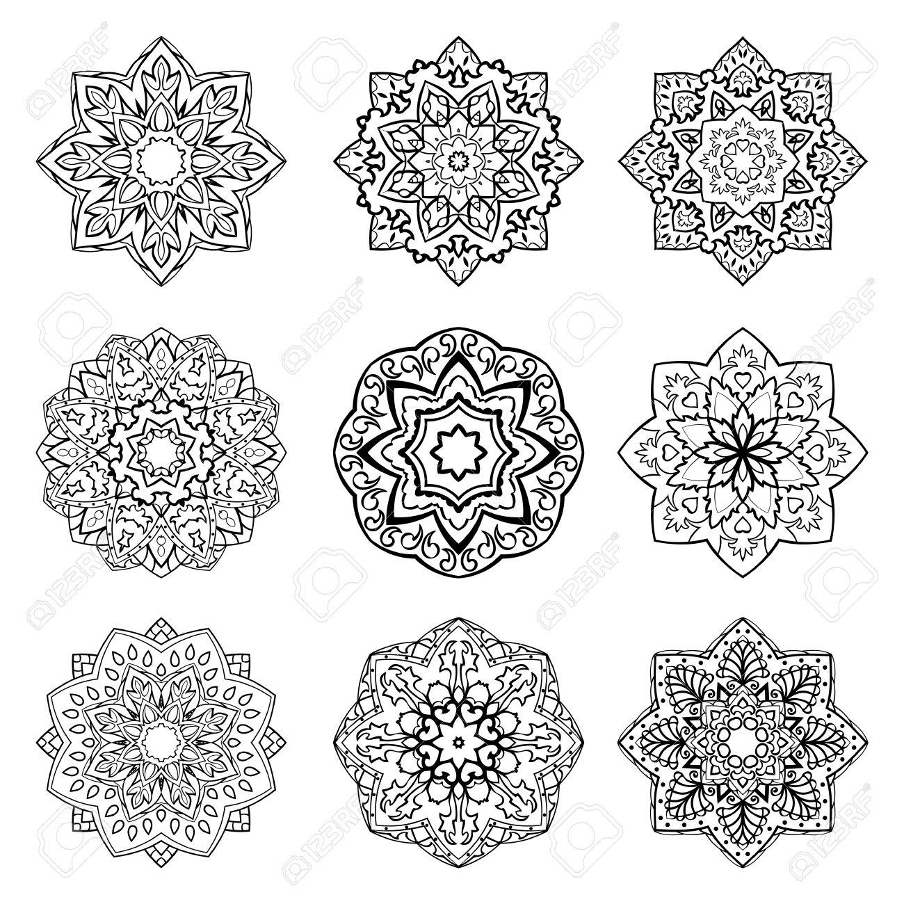 Conjunto De Mandalas. Colección De Estrellas Estilizadas Y Los Copos ...