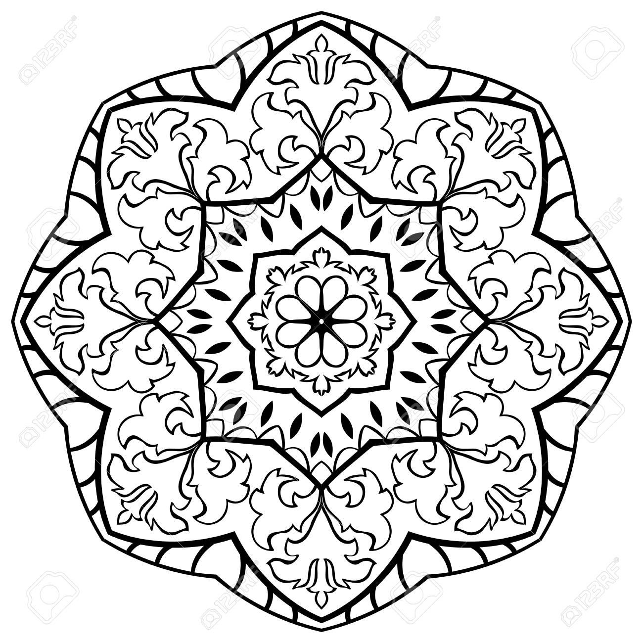 Eastern Vektor Schwarz Weiss Mandala Rund Gestaltungselement Fur Teppiche Schals Und Jeder Oberflache Vorlage Fur Verzierung Einfache Muster Lizenzfrei Nutzbare Vektorgrafiken Clip Arts Illustrationen Image 53447572
