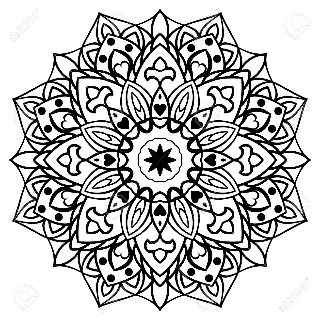 Vecteur Decoratif Mandala Oriental Croquis De Tatouage Ornement Rond Pour Livre De Coloriage