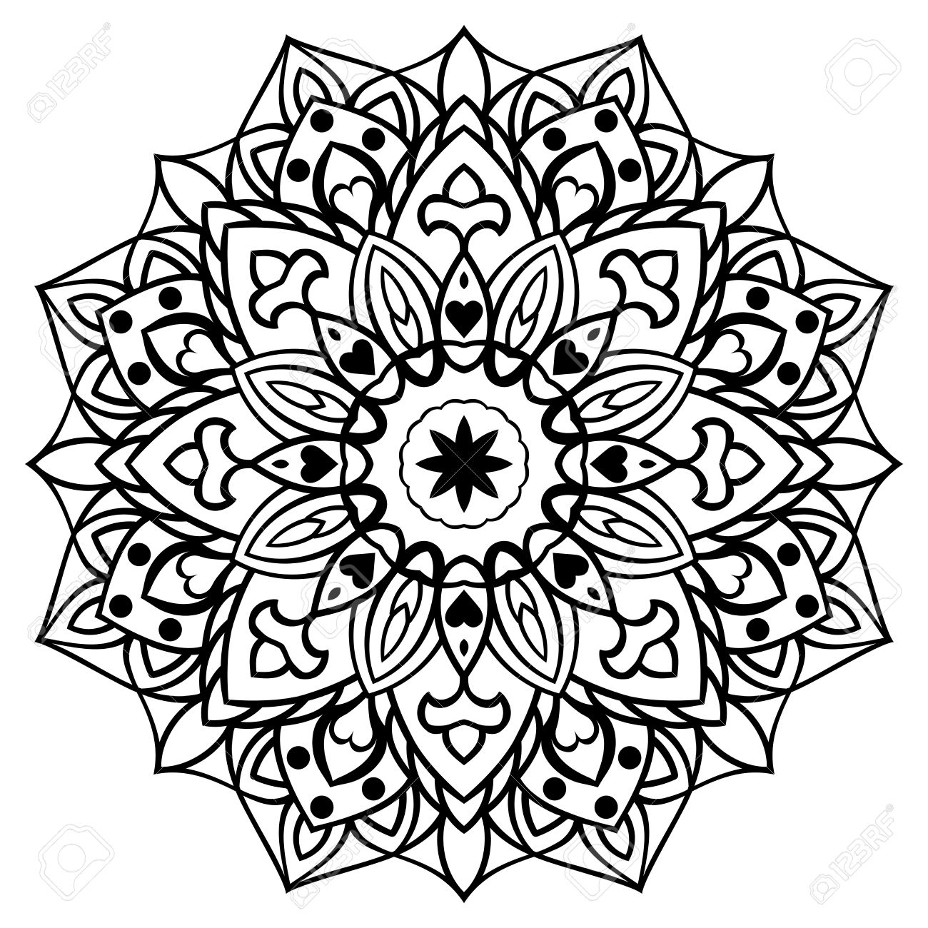 Vector Decorative Oriental Mandala Sketch Of Tattoo Round Ornament