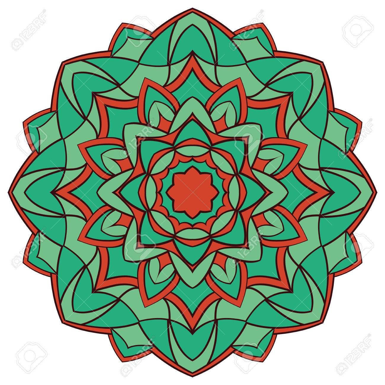 Vector Mandala De La Turquesa De Libro Para Colorear. Patrón ...