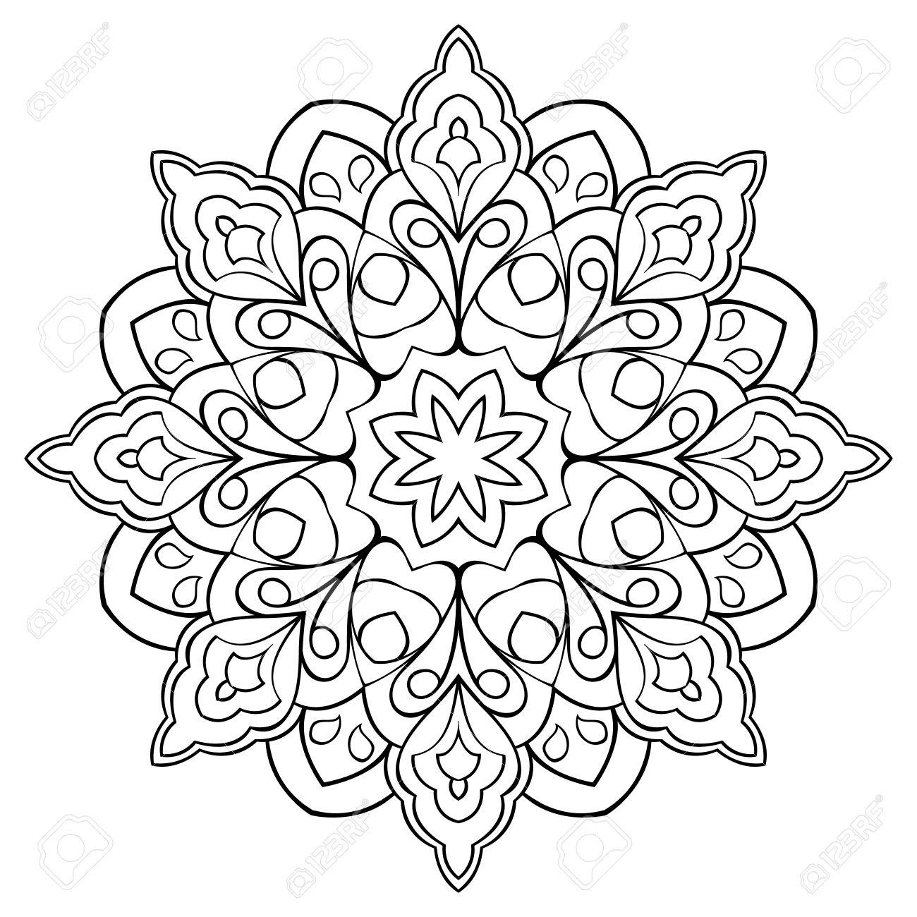 白い背景に単純なベクトル マンダラ塗り絵の円形パターンのイラスト