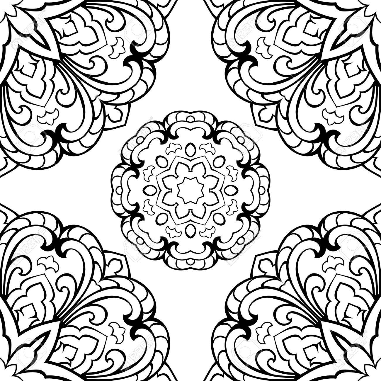 Seamless Pattern Of Abstract Mandala On A White Background. Oriental ...