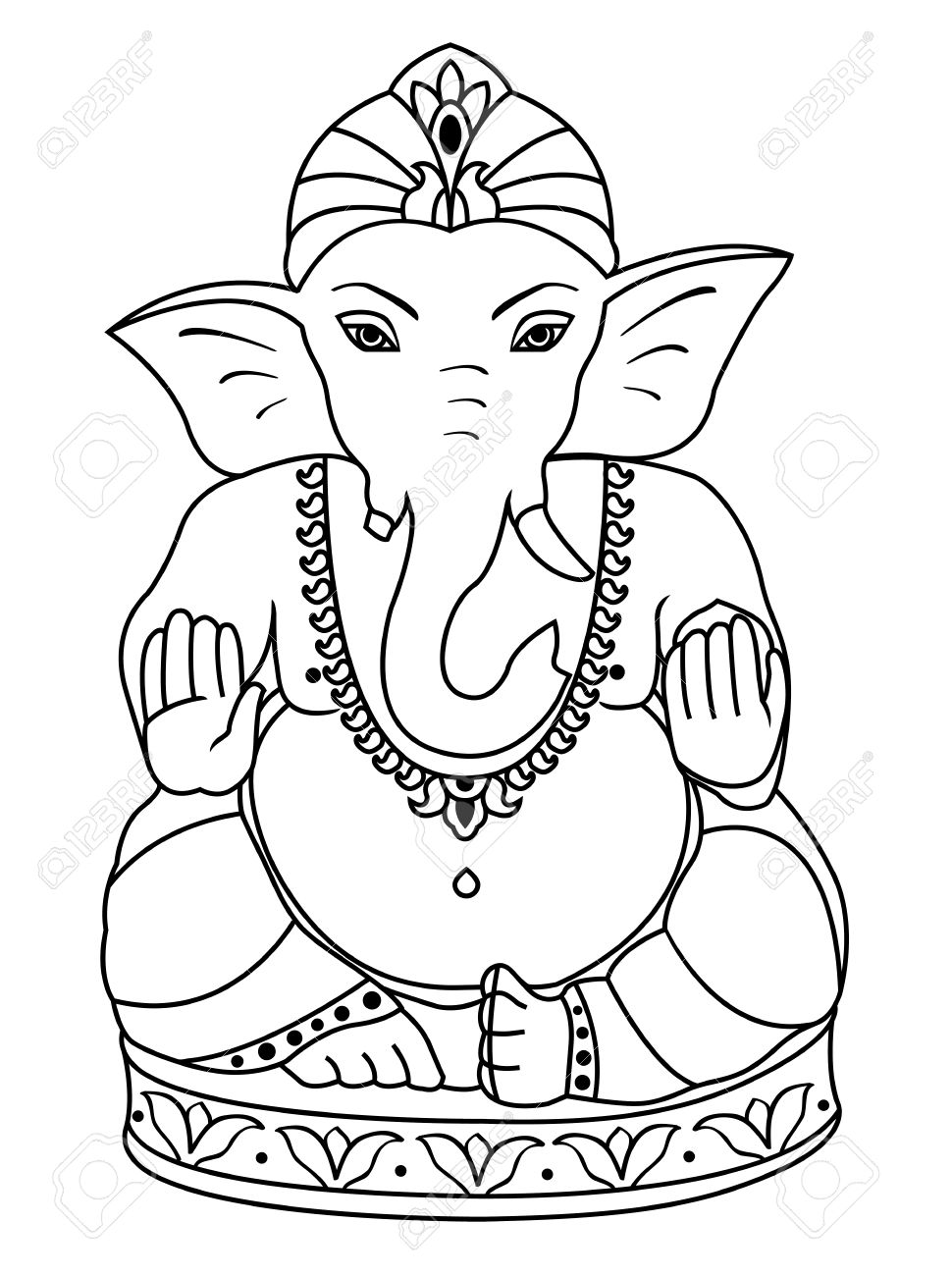 Vector vector lord ganesha outline sketch of ganesha for coloring book
