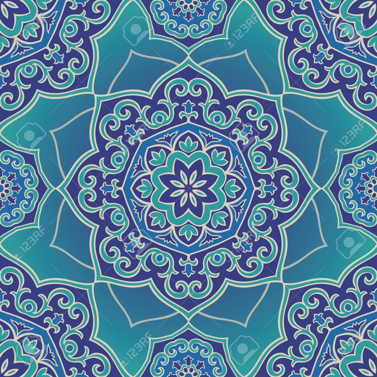 Bleu Ornement Colore De Mandala Sur Un Fond Bleu Clair Modele De