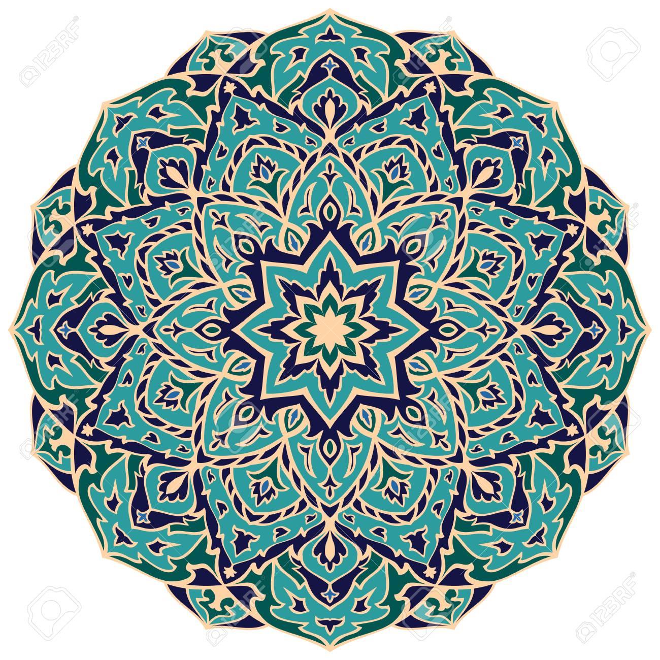 Bunte Mandala Des Ostvektors Rundes Gestaltungselement Fur Teppiche