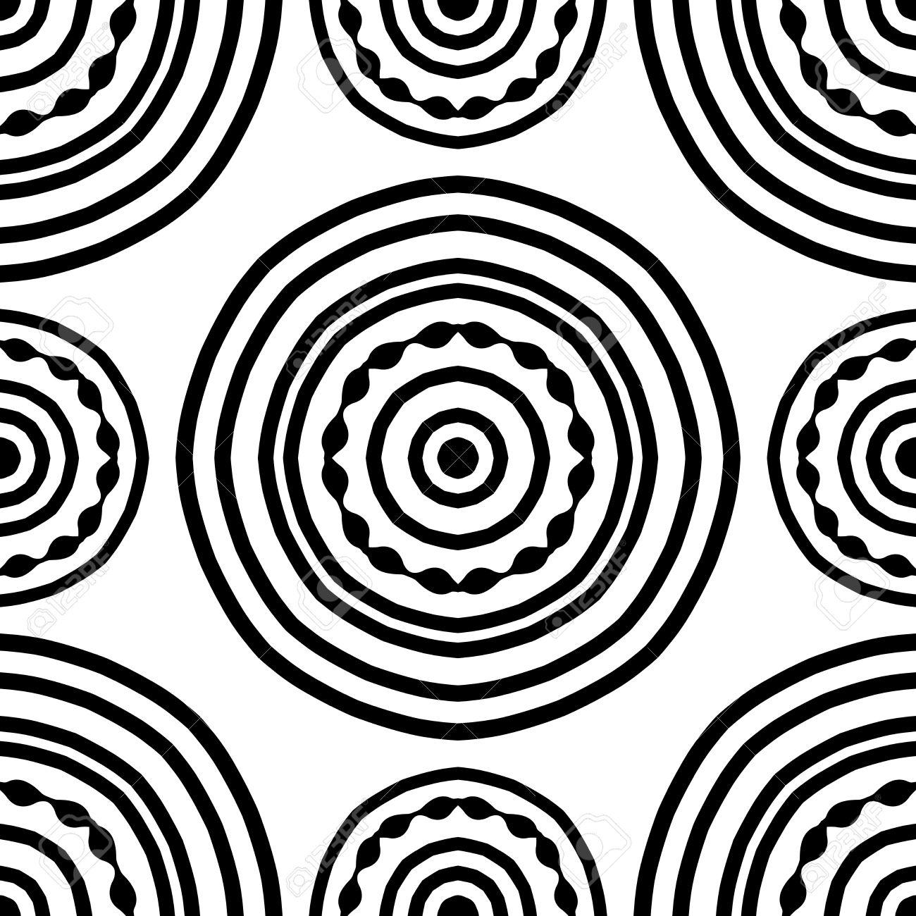 Seamless Pattern Of Simple Mandala On A White Background. Oriental ...
