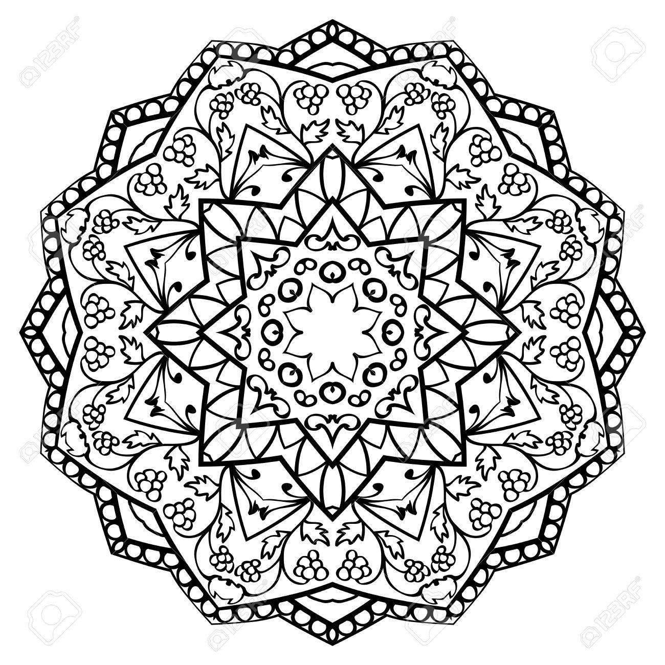ornate mandala with floral elements isolated on white background
