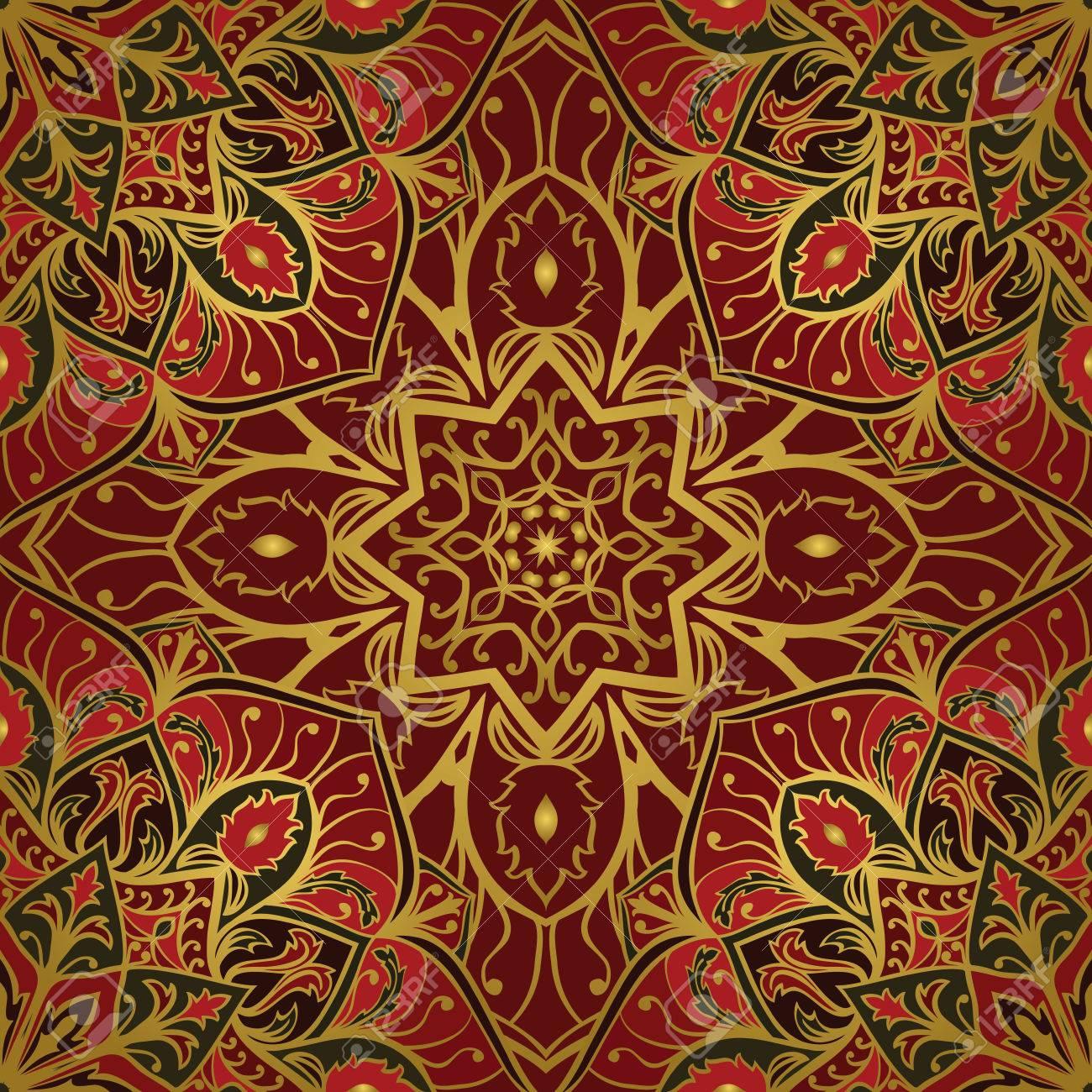 Orientalische Rot Und Goldverzierung Schablone Fur Teppich