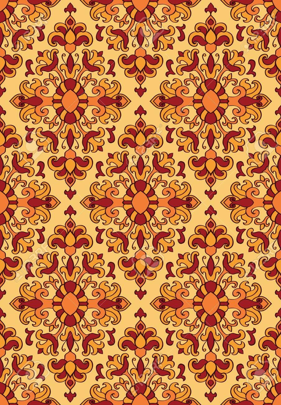 ornement floral rouge et jaune modle pour tapis oriental textile papier peint - Tapis Oriental Rouge