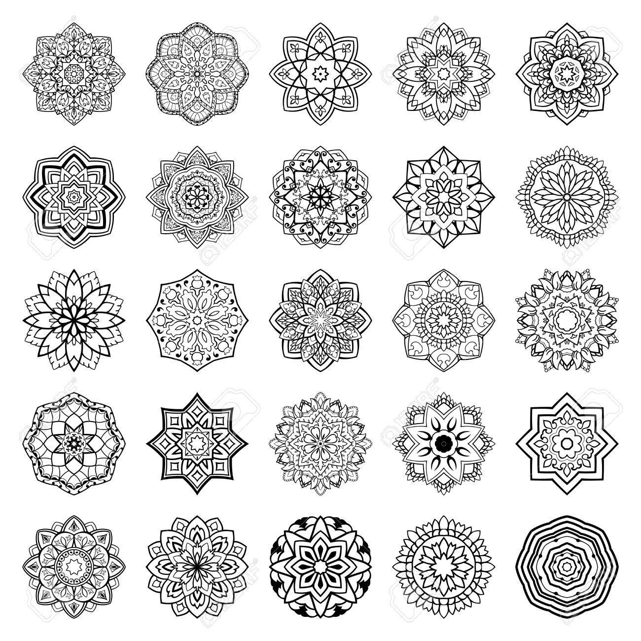 Set Von Mandalas Sammlung Von Stilisierten Vektor Ornamente Vorlage Fur Die Stickerei Skizzen Fur Henna Tattoo Einfache Design Elemente Lizenzfrei Nutzbare Vektorgrafiken Clip Arts Illustrationen Image 62275511