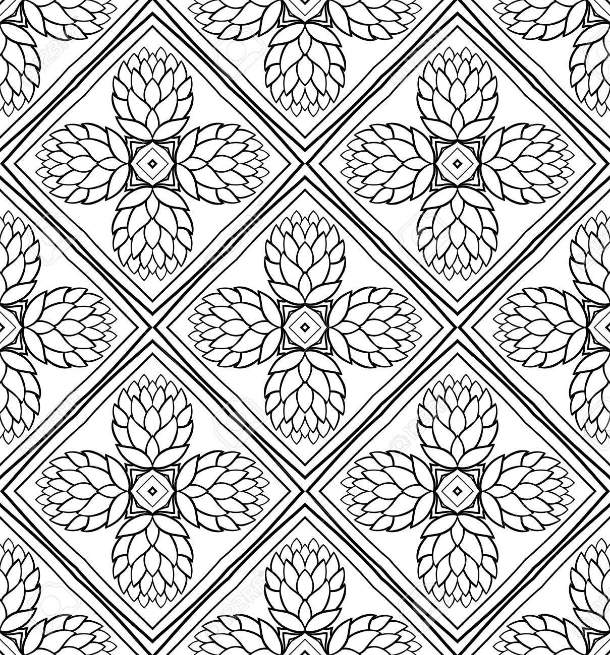 Nahtlose Hintergrund Mit Zapfen Vector Schwarz Weiss Muster Floral