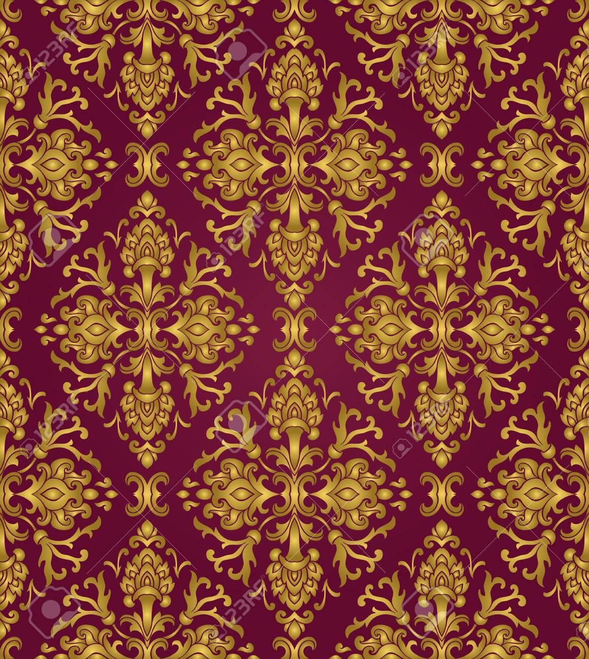 Ornement Floral En Or Et Lilas Modele Pour Tapis Oriental Textile