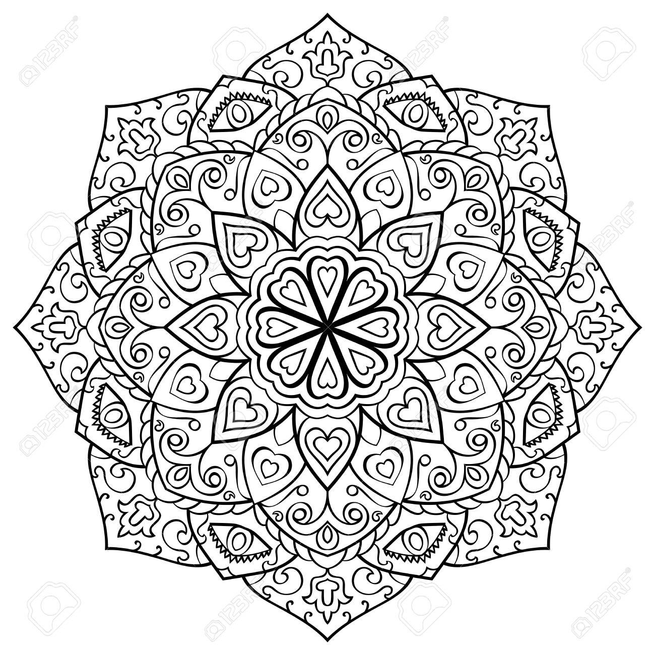 Vector Contorno Mandala Sobre Un Fondo Blanco Ornamento Oriental