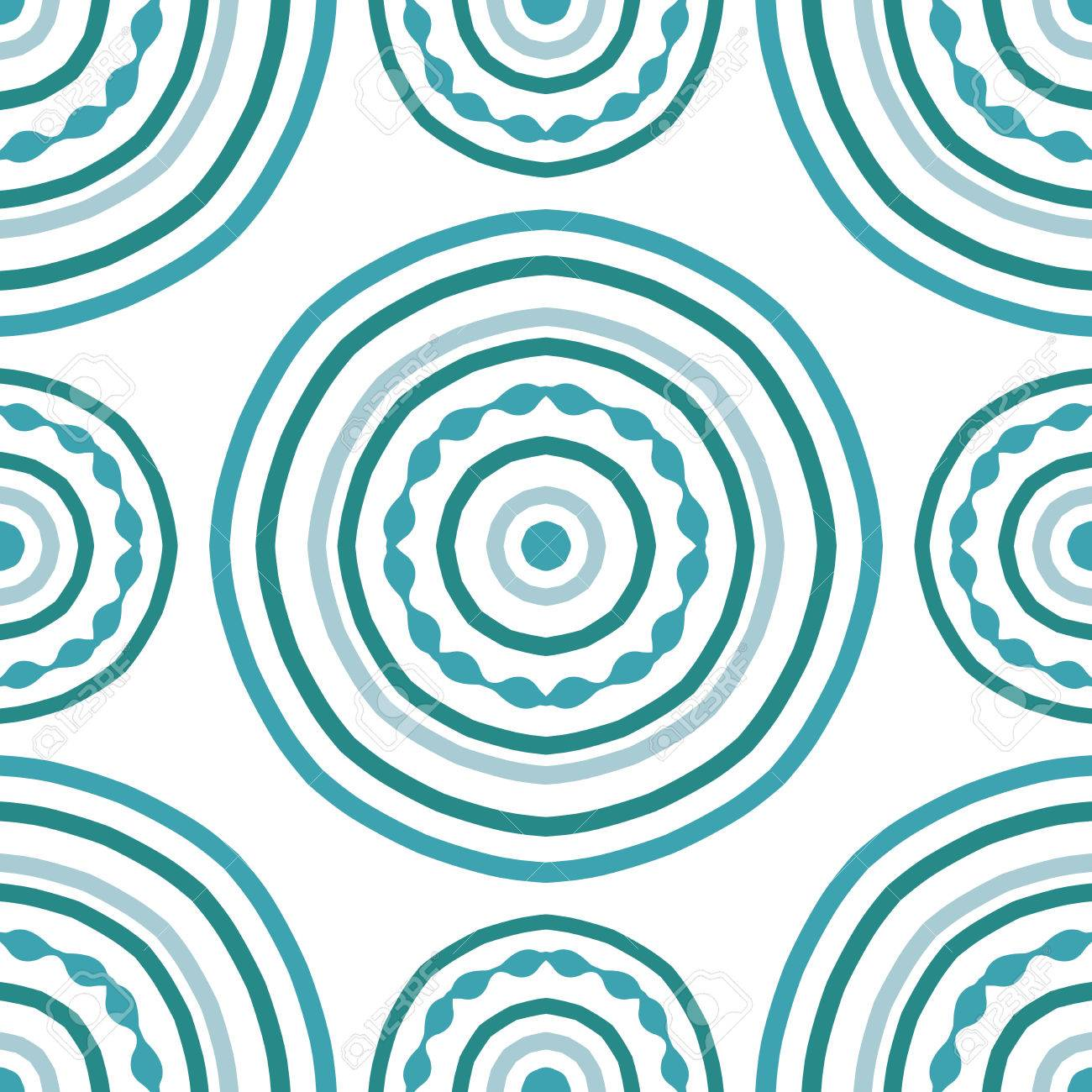 Sin Patrón De Mandala Azul Sobre Un Fondo Blanco. Simple Ornamento ...